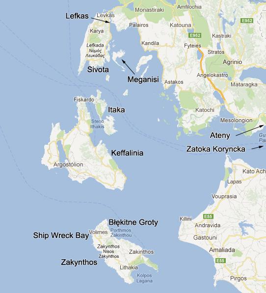 Wyspy Jońskie - mapka